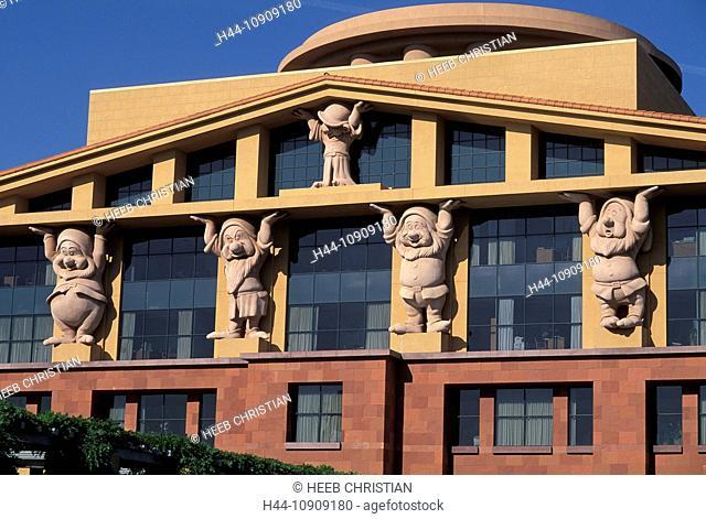 Modern, architecture, columns, seven dwarfs, Walt Disney Company Building, Burbank, Los Angeles, California, USA, United States, America