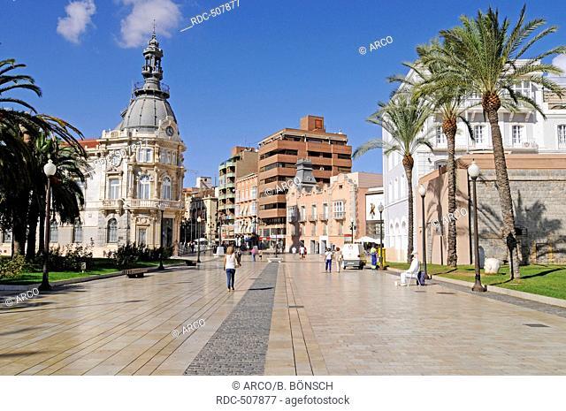 Town Hall, Town Hall Square, Museo del Teatro Romano, the Roman Theatre Museum, Cartagena, Murcia Region, Spain, Europe