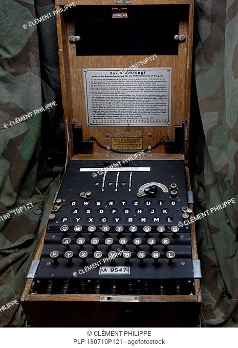 German World War Two Enigma machine in wooden box for encoding military messages