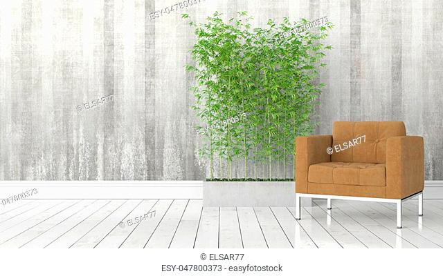 Beautiful modern interior with bamboo. 3D rendering