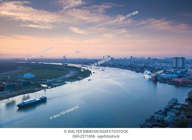 Vietnam, Ho Chi Minh City, elevated view of Saigon River, dawn