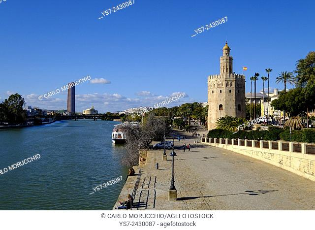 The Torre del Oro, Gold Tower, Museo Naval, Guadalquivir river, Seville, Andalusia, Spain