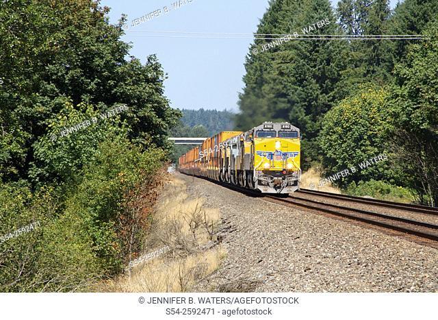 A southbound Union Pacific stack train near Olympia, Washington, USA