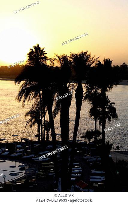 SUNSET OVER THE RIVER NILE; LUXOR, EGYPT; 07/01/2013