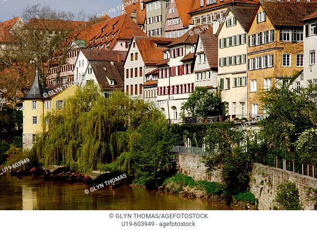 View along the River Neckar in Tubingen, including the Hölderlin Turm, Tubingen. Baden-Wurttemberg, Germany