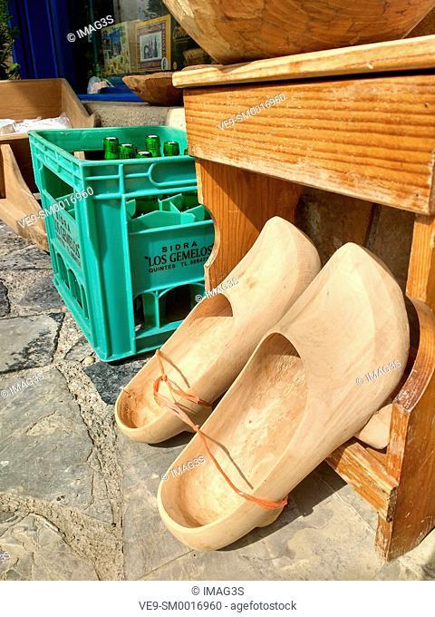 Madreñas (typical clogs) for sale. Tazones village, Asturias, Spain