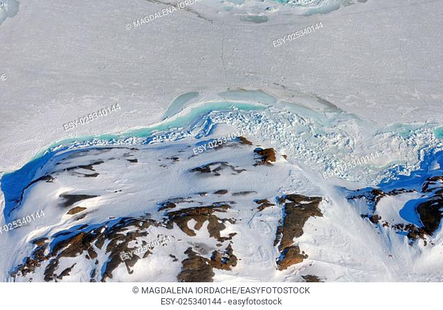 Greenland ice and land from above