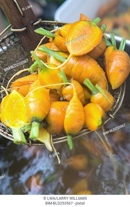 Carrots in strainer