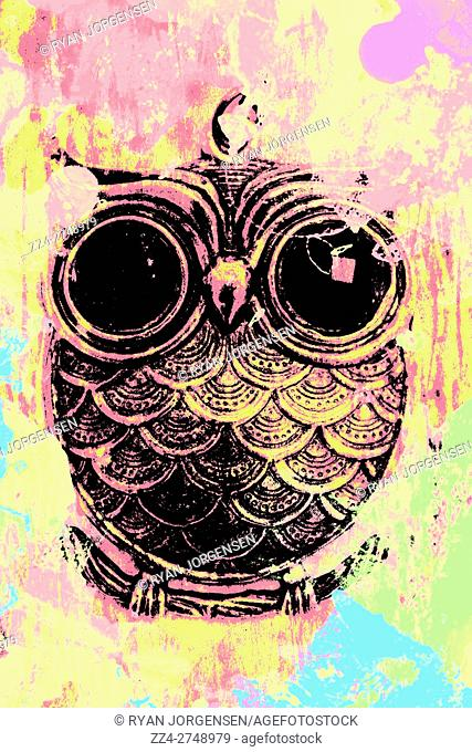Digital pop art painting of a owl beneath a watercolor splash of bright yellow, pinks and light blues hues. Retro owls