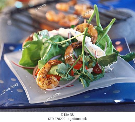 Watercress salad with grilled prawns