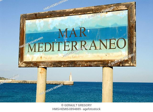 Spain, Andalucia, Costa de la Luz, Tarifa, painted sign indicating mediterranean sea east of Tarifa, the most southern town of Europe on the Strait of Gibraltar