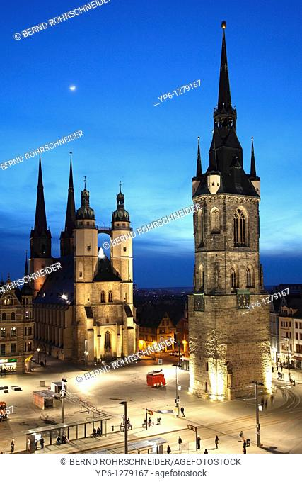 market place with Marien Church and Red Tower, illuminated at night, Halle, Saxony-Anhalt, Germany