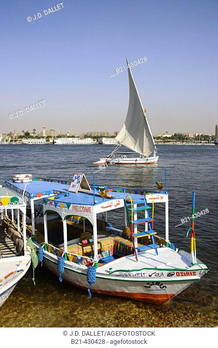 Boats on the Nile, Luxor. Egypt
