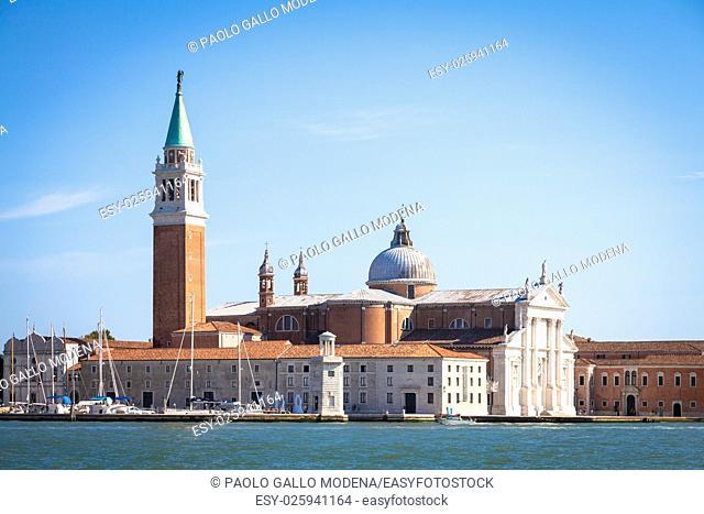 Venice, Italy. View from Riva degli Schiavoni of San Giorgio Maggiore Isle during a sunny day with blue sky