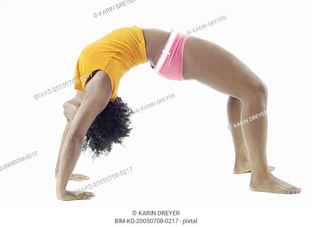 Woman in crab walk position