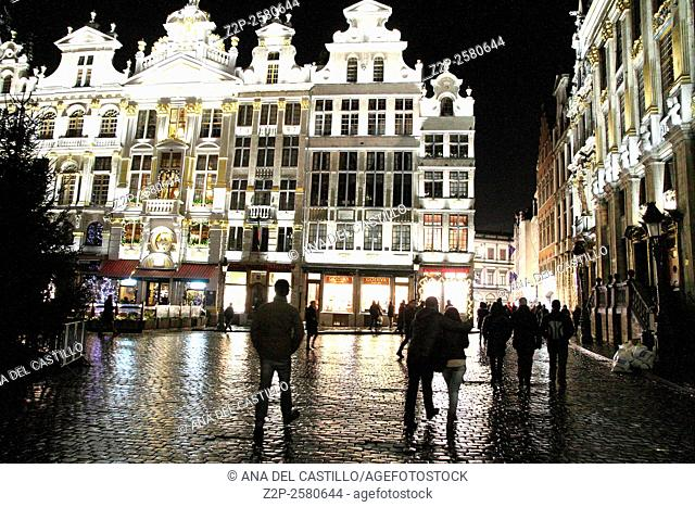 BRUSSELS BELGIUM-DEC 7: Christmas illumination of Grand Place on December 7, 2014 in Brussels Belgium