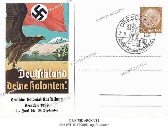 Sonderpostkarte Propaganda zur Deutschen Kolonial Ausstellung in Dresden 21. Juni bis 10. September 1939