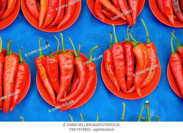 Red Chili Peppers for Sale on Market Stall Kuching Sarawak Borneo Malaysia