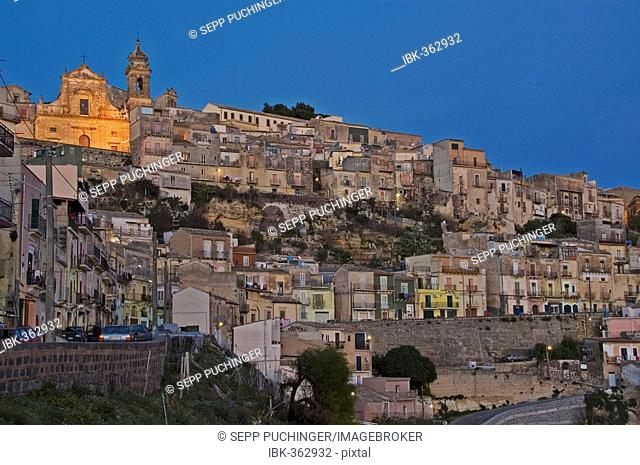 The town of Lipri with the fortress, Lipari, Sicily; Italy