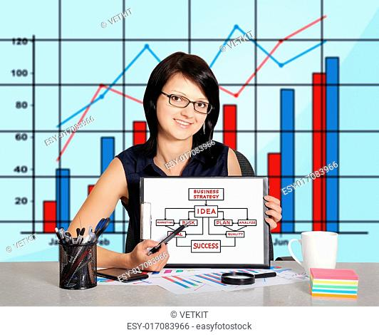 businesswoman sitting in office and clipboard with business strategy