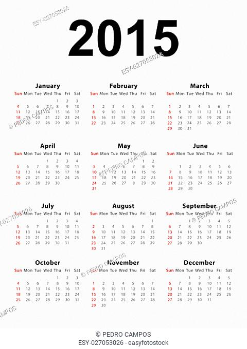 Calendar of 2015 isolated on white background