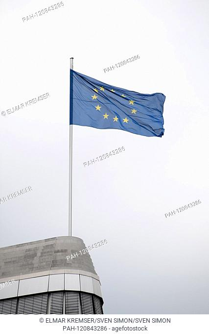 European flag on the roof of the Konrad Adenauer House, feature, general, border motif, flag, European elections 2019 - The election evening of the CDU in the...
