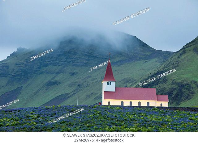 Evening at traditional Icelandic church in Vik, Iceland