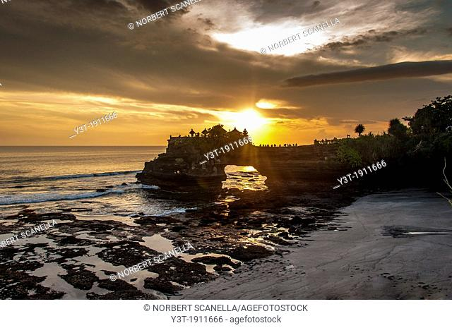 Asia, South-East Asia, Indonesia, Bali. Pura Tanah Lot temple at sunset