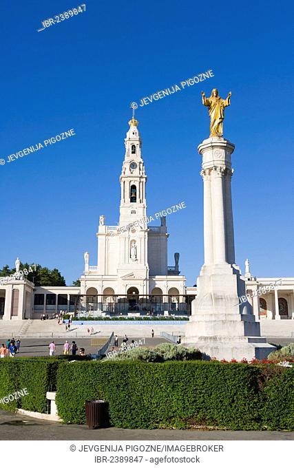 Statue of Jesus Christ and The Basilica of Our Lady of the Rosary, Santuario de Fatima, Fatima Shrine, Sanctuary of Our Lady of Fatima, Fatima, Ourem, Santarem