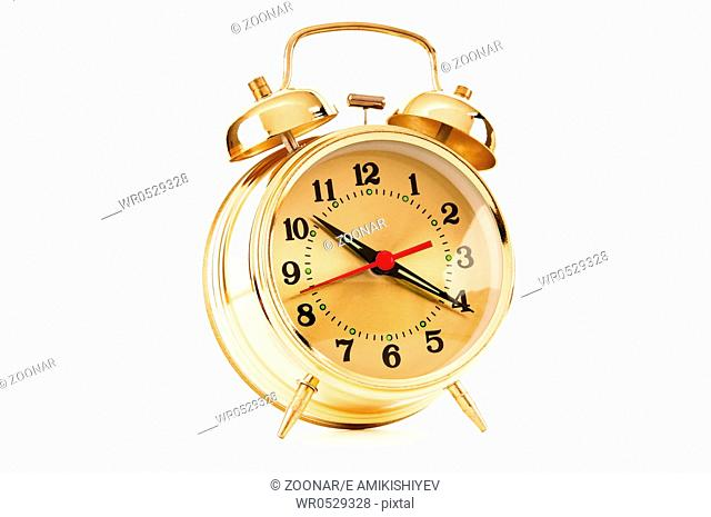 Time concept - alarm clock isolated on the white