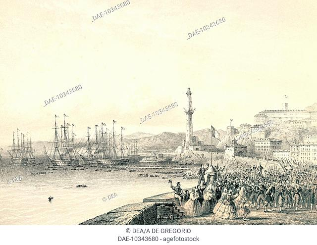 French troops landing in Genoa, May 12, 1859. Second War of Independence, Italy, 19th century.  Genoa, Museo Del Risorgimento E Istituto Mazziniano (History'S...