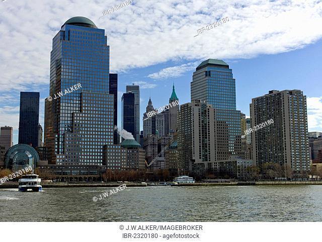 New York skyline with Three World Financial Center, Tribeca, West Street, Lower Manhatten, Manhatten, New York, USA