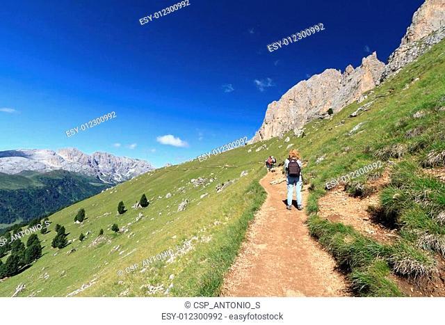 Dolomites - walking on a footpath