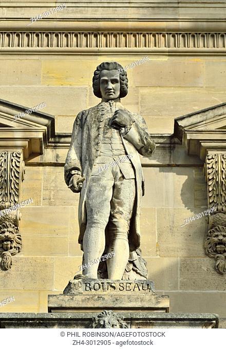 Paris, France. Palais du Louvre. Statue in the Cour Napoleon: Jean-Jacques Rousseau (1712 - 1778) Swiss Francophone philosopher, writer, and composer