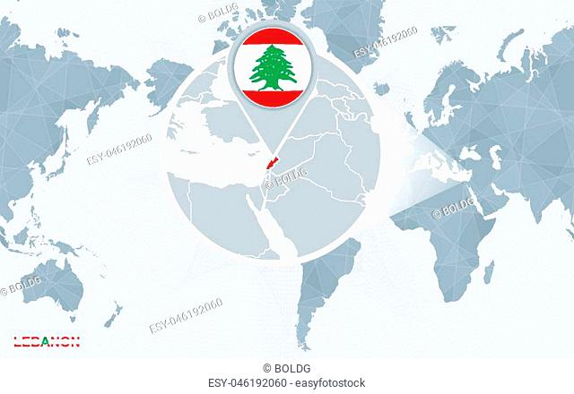 World map centered on America with magnified Lebanon. Blue flag and map of Lebanon. Abstract vector illustration