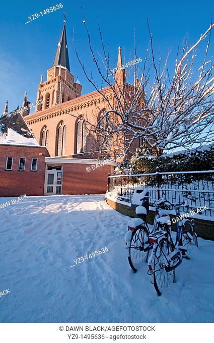 Dorpskerk with Bikes in Winter, Voorschoten, The Netherlands