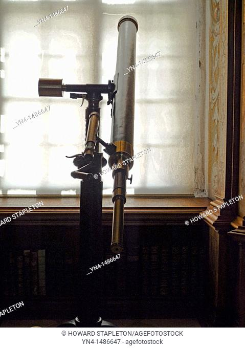 Old telescope in the library of the Abbey at Melk, Austria