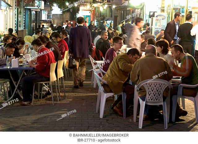 Istanbul Turkey supper after sunset in the abstinence month Ramadan