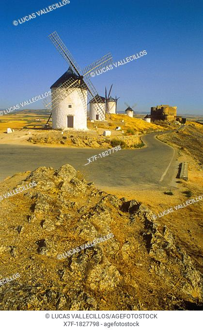 Windmills, Consuegra, province of Toledo,Castilla La Mancha,the route of Don Quixote, Spain