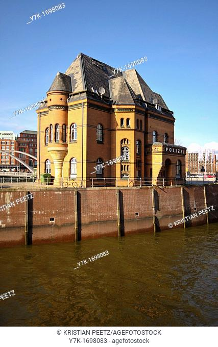 View of the old police station at the Kehrwiederspitze in the port of Hamburg, Germany
