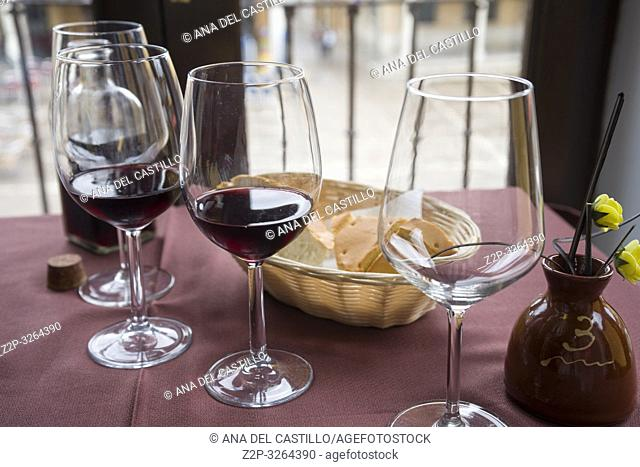 Glasses of wine on table in restaurant Spain