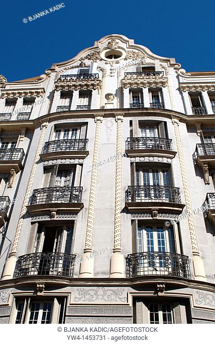 Residential building with balconies, Chueca, Madrid, Spain