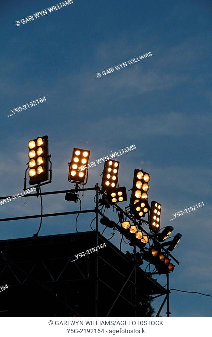 spotlights at music concert in rome italy