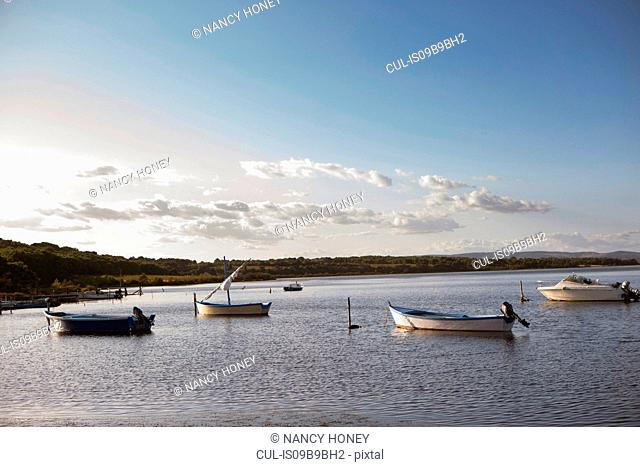 Boats on lake, Sigean, Languedoc Roussillon, France, Europe