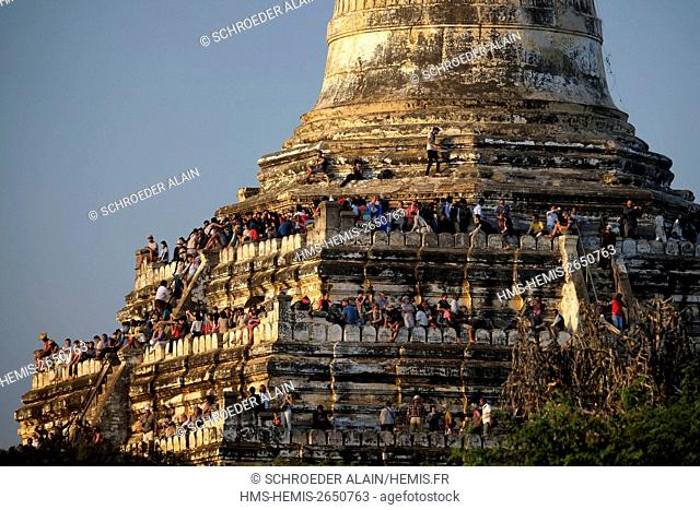 Myanmar, Bagan, Mandalay Province, the temples of Bagan, Pagoda Shwe San Daw Paya filled with tourists waiting for sunset