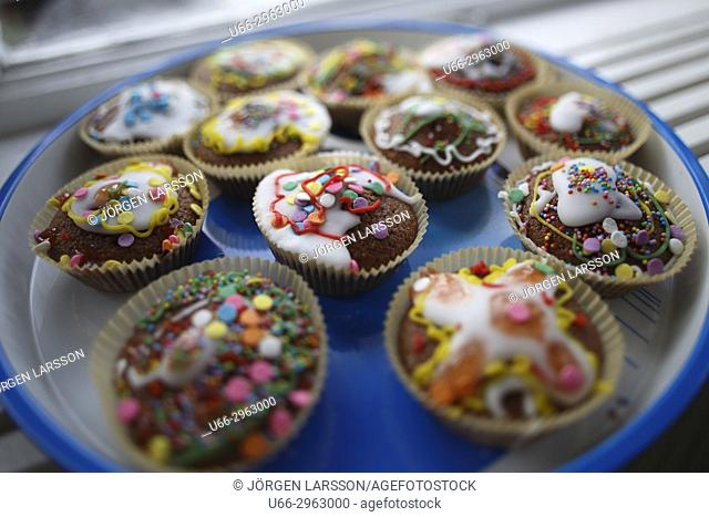 Colorful pastries, Stockholm, Sweden