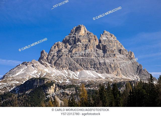 Tre Cime di Lavaredo seen from Antorno lake, Auronzo, Belluno, Italy, Europe