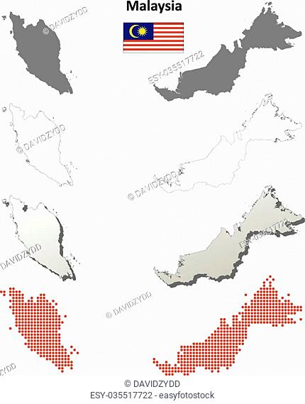 Malaysia blank detailed vector blank detailed outline map set