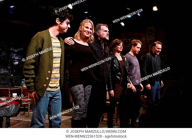 Opening night of The Undeniable Sound of Right Now at the Rattlestick Theater - Curtain Call. Featuring: Brian Miskell, Lusia Strus, Jeb Brown, Margo Seibert