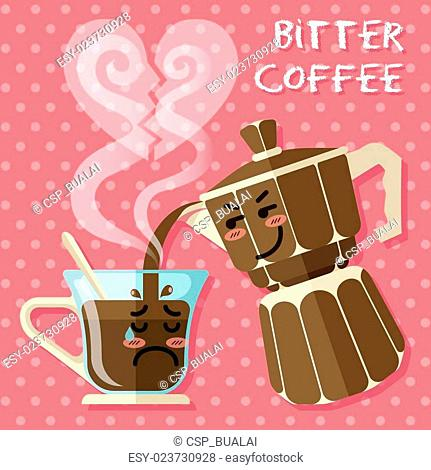 crying cartoon on coffee cup and aluminum Espresso coffee maker